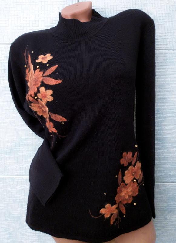 Свитер черный с вышивкой от damart, англия, цена - 220 грн, #21517827, купить по доступной цене   Украина - Шафа