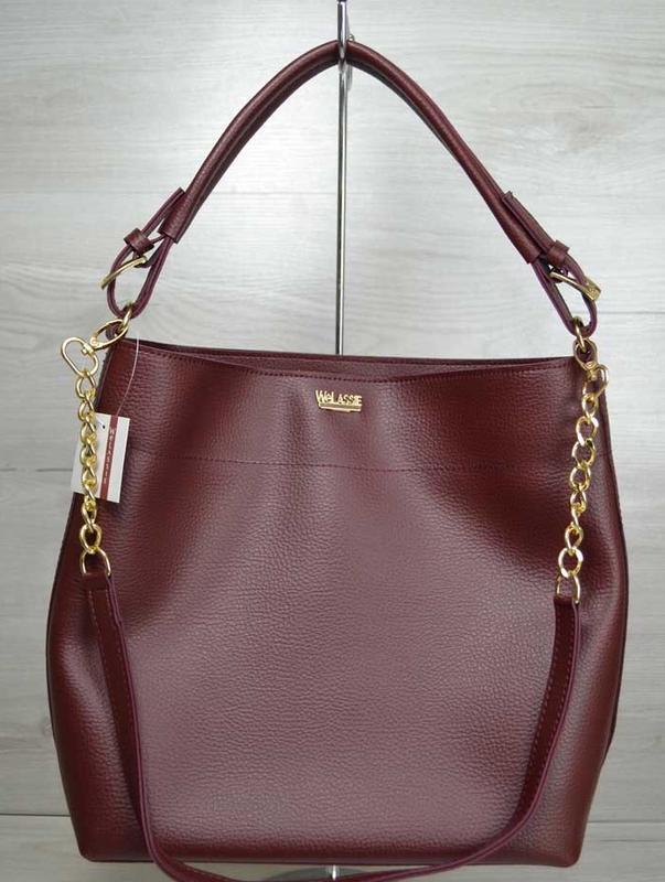 5199c0e36d05 Бордовая женская молодежная сумка шоппер с длинными ручками на цепочке  через плечо.цвета1 ...