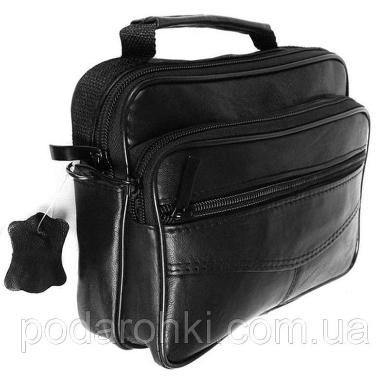 f64551dec808 Кожаная мужская сумка 8664 черная барсетка через плечо кожа 16х20х7см1 ...