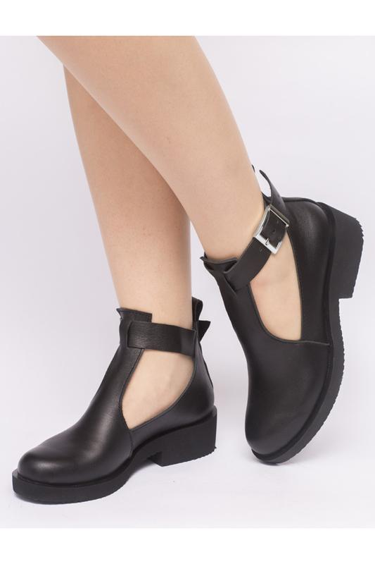 adb163691 Открытые женские ботинки кожа на устойчивом каблуке, цена - 1349 грн ...
