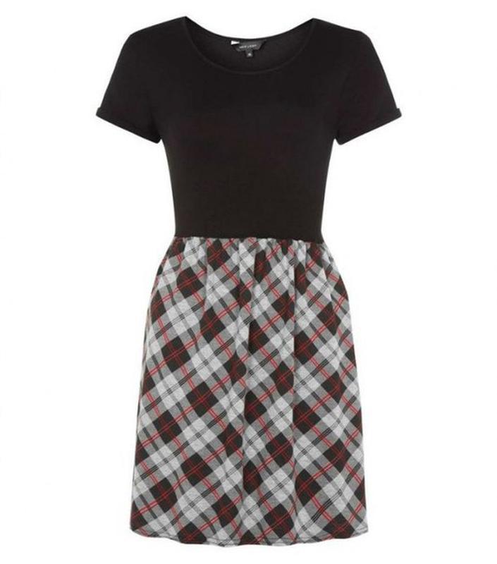 Платье короткое черное в клетку, платье-футболка серое new look New Look, цена - 100 грн, #2440159, купить по доступной цене | Украина - Шафа