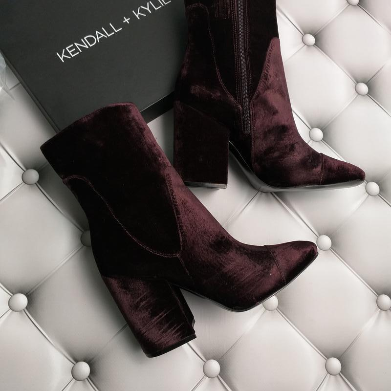 4b7cf7388 Kendall + kylie оригинал бархатные пурпурные ботильоны на широком каблуке1  ...
