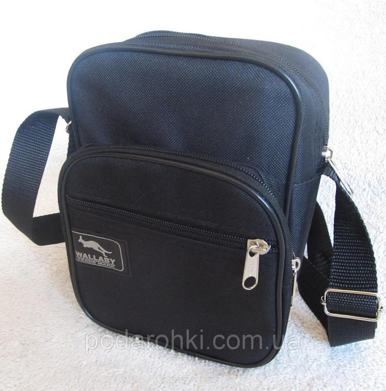cb5519e4922c Мужская сумка через плечо черная барсетка на пояс 21х16х8см wallaby 26611  ...