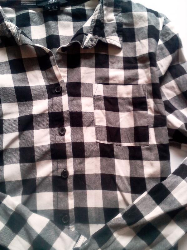 e03d6c140fa8 Стильная кроп-рубашка f&f в клетку топ черно-белая (F&F) за 119 грн.