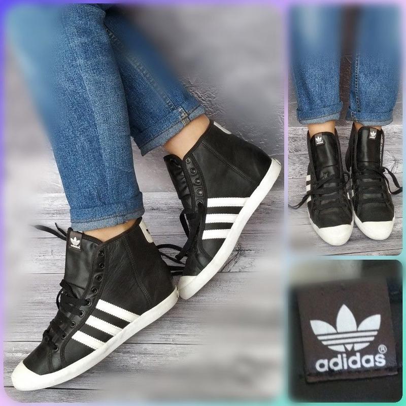 1f92d774 37р кожа!новые adidas sleek series ,черные высокие кеды,кроссовки1 ...