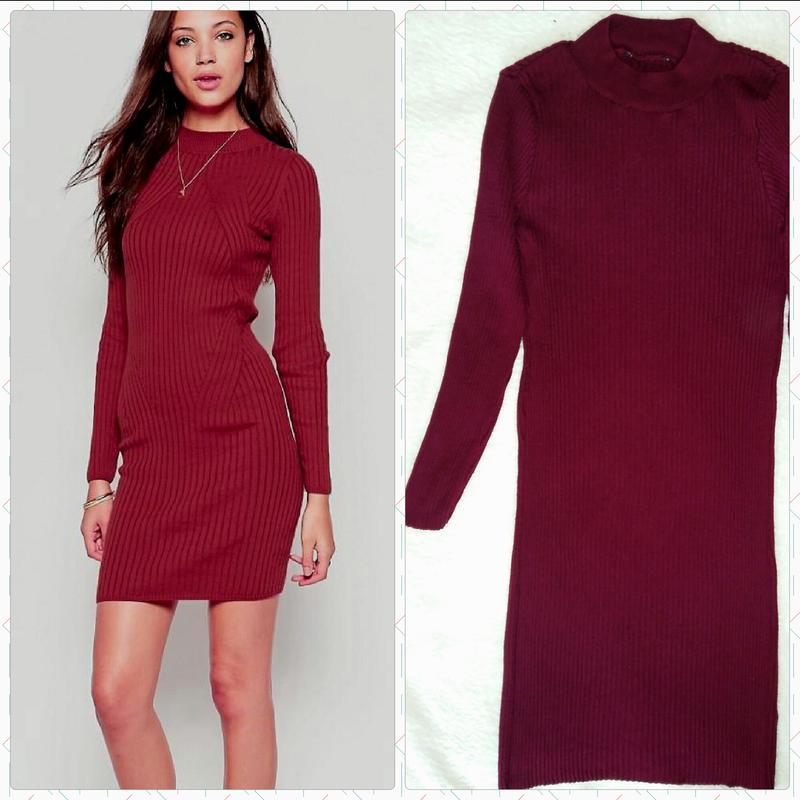 6e8781081ae Трендовое платье в рубчик цвета марсала Atmosphere