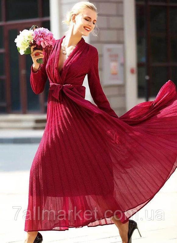 6b9b29f39e42d74 Шикарное вечернее платье-плиссе-макси с люрексом и поясом от liang. kela ...