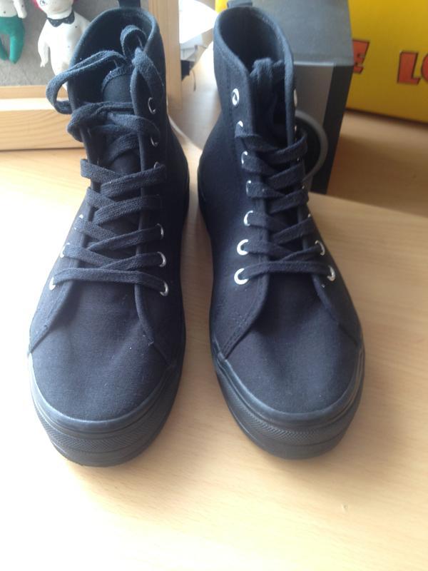 2903005b203b Кеды на платформе divided by h m размер 38 черные, ботинки осенние ,  высокие кеды на ...
