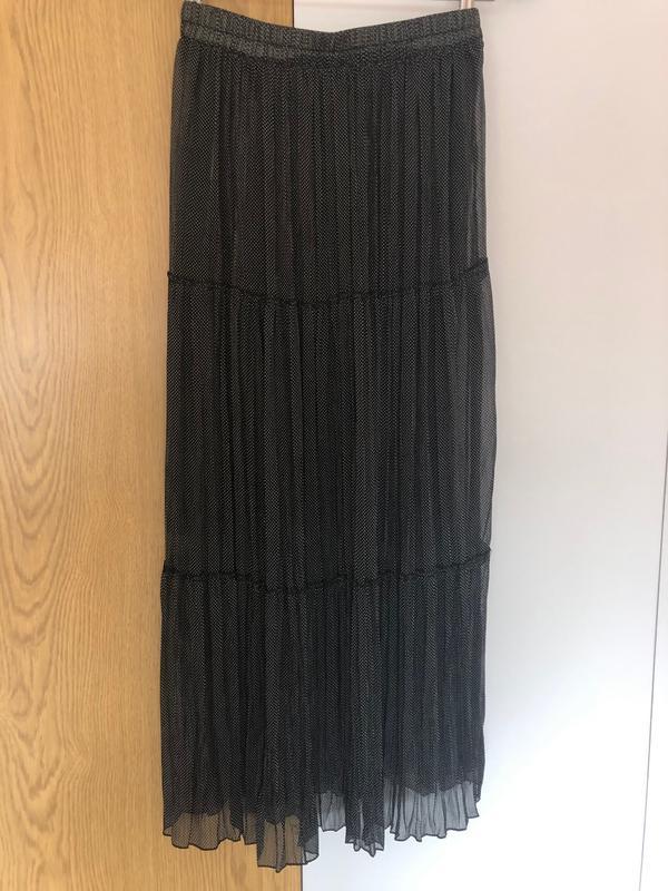 783d37827ae ... Длинная легкая воздушная юбка макси сарафан горох горохи горошек черная  подкладке5 фото