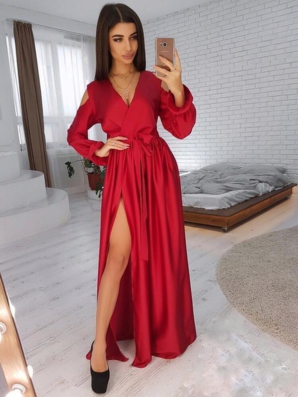 c073df67acc Вечернее шелковое красное платье в пол1 фото ...