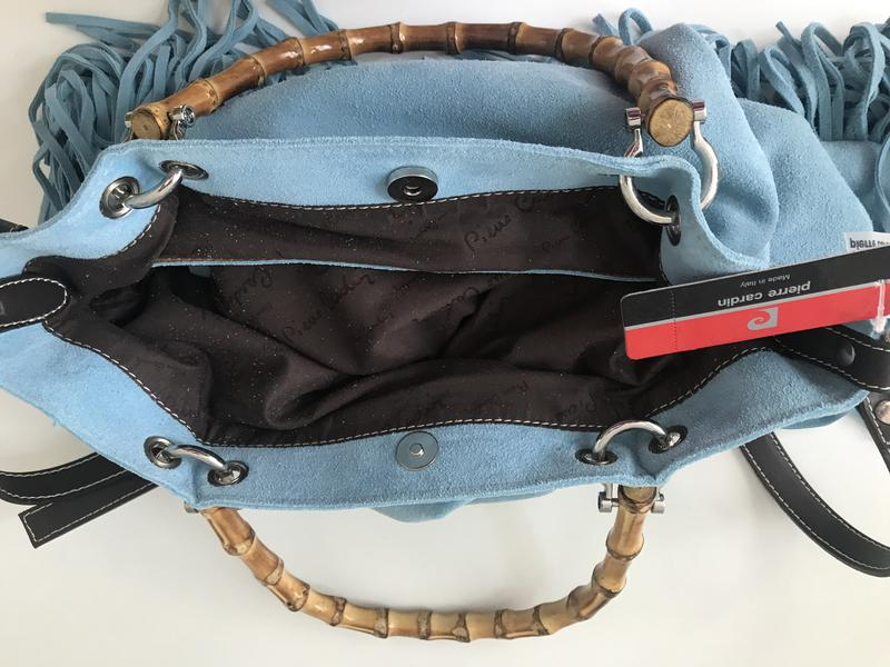 ce174fb0cb21 Сумка 🇮🇹 голубая замша, на деревянных ручках, цена - 2000 грн ...