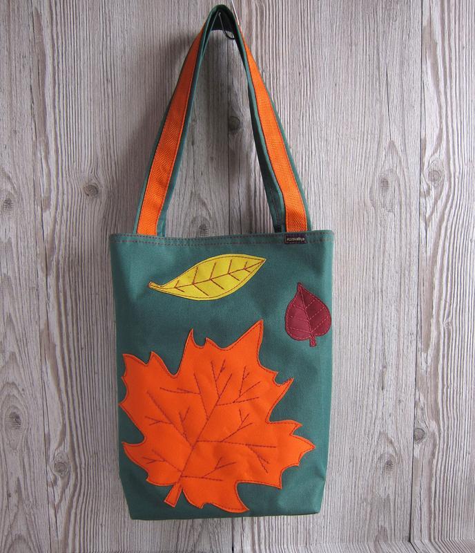 d6dc761a65d8 Зеленая сумка на магнитной застежке с декором в виде осенних листьев1 ...