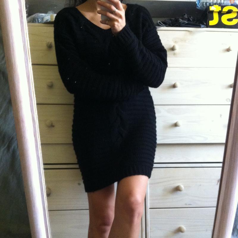 83be57a2823 Уютное базовое черное тёплое платье свитер с косами1 фото ...