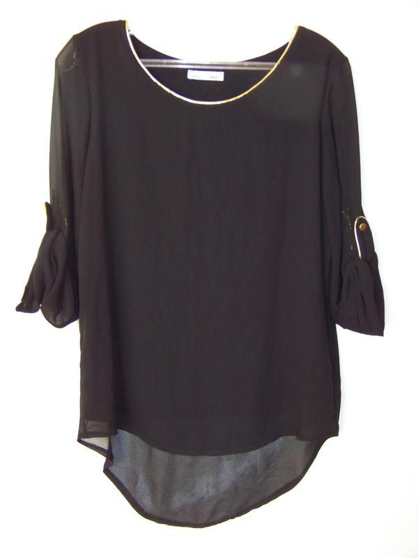 05ea5bcca3d Черная итальянская двойная блузка с асимметричным низом1 ...