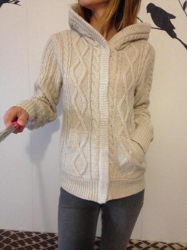 теплый вязаный кардиган с капюшономкофта свитер Ltb цена 179 грн