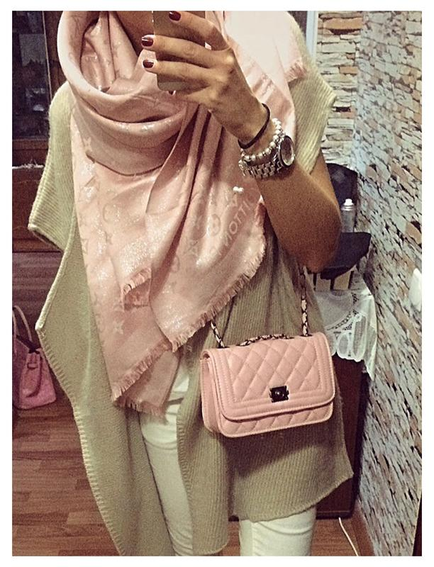 Нежный розовый шарф - палантин из кашемира и шелка louis vuitton1 ... 1af80a11f43